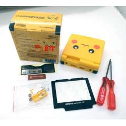 Nintendo Gameboy Advance SP AGS GBA SP Pikachu Edition Housing Shell Screen Lens buttons box bundle replacement